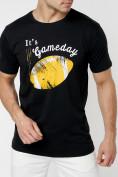 Оптом Мужские футболки с принтом желтого цвета 221414J, фото 2