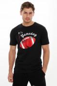 Оптом Мужские футболки с принтом черного цвета 221414Ch в Екатеринбурге, фото 2