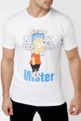Оптом Мужские футболки с принтом белого цвета 221418Bl в Екатеринбурге