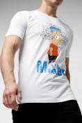 Оптом Мужские футболки с принтом белого цвета 221418Bl в Екатеринбурге, фото 5