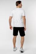 Оптом Мужская футболка с надписью  белого цвета 221485Bl в Екатеринбурге, фото 7