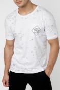 Оптом Мужская футболка с надписью  белого цвета 221485Bl в Екатеринбурге, фото 4