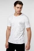 Оптом Мужская футболка с надписью  белого цвета 221485Bl в Екатеринбурге, фото 3