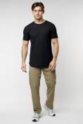 Оптом Мужская футболка однотонная черного цвета 221487Ch в Екатеринбурге, фото 3