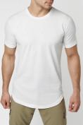 Оптом Мужская футболка однотонная белого цвета 221487Bl в Екатеринбурге, фото 2