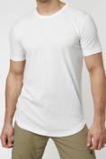 Оптом Мужская футболка однотонная белого цвета 221487Bl в Екатеринбурге, фото 3