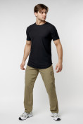 Оптом Мужская футболка однотонная черного цвета 221487Ch в Екатеринбурге, фото 2