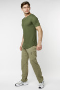 Оптом Мужская футболка однотонная хаки цвета 221487Kh в Екатеринбурге, фото 6
