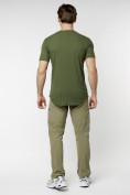 Оптом Мужская футболка однотонная хаки цвета 221487Kh в Екатеринбурге, фото 7