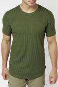 Оптом Мужская футболка однотонная хаки цвета 221487Kh в Екатеринбурге