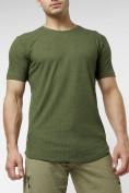 Оптом Мужская футболка однотонная хаки цвета 221487Kh в Екатеринбурге, фото 2