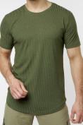 Оптом Мужская футболка однотонная хаки цвета 221487Kh в Екатеринбурге, фото 3