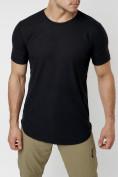 Оптом Мужская футболка однотонная черного цвета 221487Ch в Екатеринбурге