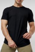Оптом Мужская футболка однотонная черного цвета 221487Ch в Екатеринбурге, фото 6