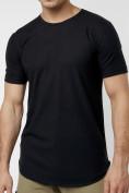 Оптом Мужская футболка однотонная черного цвета 221487Ch в Екатеринбурге, фото 5
