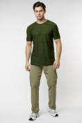 Оптом Мужская футболка однотонная хаки цвета 221488Kh в Екатеринбурге, фото 4