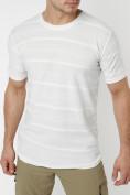 Оптом Мужская футболка однотонная белого цвета 221488Bl в Екатеринбурге, фото 2
