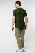 Оптом Мужская футболка однотонная хаки цвета 221488Kh в Екатеринбурге, фото 6