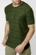 Оптом Мужская футболка однотонная хаки цвета 221488Kh в Екатеринбурге