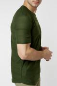 Оптом Мужская футболка однотонная хаки цвета 221488Kh в Екатеринбурге, фото 2