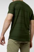 Оптом Мужская футболка однотонная хаки цвета 221488Kh в Екатеринбурге, фото 3