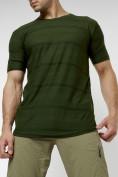 Оптом Мужская футболка однотонная хаки цвета 221488Kh в Екатеринбурге, фото 7