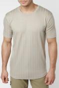 Оптом Мужская футболка в сетку бежевого цвета 221490B в Екатеринбурге, фото 6