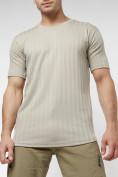 Оптом Мужская футболка в сетку бежевого цвета 221490B в Екатеринбурге, фото 7
