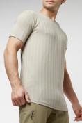 Оптом Мужская футболка в сетку бежевого цвета 221490B в Екатеринбурге, фото 8