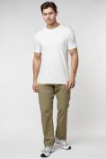 Оптом Мужская футболка в сетку белого цвета 221490Bl в Екатеринбурге