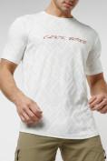 Оптом Мужская футболка с надписью белого цвета 222006Bl в Екатеринбурге