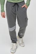 Оптом Трикотажные брюки мужские темно-серого цвета 2269TC, фото 5