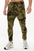 Оптом Трикотажные брюки зауженные камуфляжного цвета 227001Kf в Екатеринбурге, фото 6