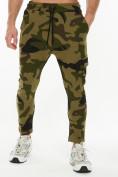 Оптом Трикотажные брюки зауженные камуфляжного цвета 227001Kf в Екатеринбурге, фото 2