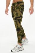 Оптом Трикотажные брюки зауженные камуфляжного цвета 227001Kf в Екатеринбурге, фото 3