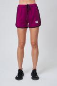 Оптом Спортивные женские шорты big size малинового цвета 212311M