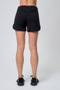 Оптом Спортивные женские шорты big size черного цвета 212311Ch, фото 4