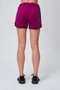 Оптом Спортивные женские шорты big size малинового цвета 212311M, фото 4