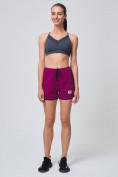 Оптом Спортивные женские шорты big size малинового цвета 212311M, фото 6