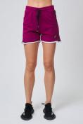 Оптом Спортивные женские шорты big size малинового цвета 212312M