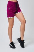 Оптом Спортивные женские шорты big size малинового цвета 212312M, фото 2