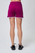 Оптом Спортивные женские шорты big size малинового цвета 212312M, фото 4