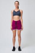 Оптом Спортивные женские шорты big size малинового цвета 212312M, фото 6