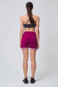 Оптом Спортивные женские шорты big size малинового цвета 212312M, фото 7