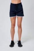Оптом Спортивные женские шорты big size темно-синего цвета 212312TS