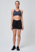 Оптом Спортивные женские шорты big size черного цвета 212312Ch, фото 6