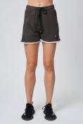 Оптом Спортивные женские шорты big size цвета хаки 212312Kh