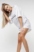 Оптом Туника женская с цепочкой белого цвета 28014Bl в Екатеринбурге, фото 2
