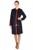 Оптом Пальто женское темно-синего цвета 288TS