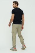 Оптом Штаны джоггеры мужские бежевого цвета 3011B, фото 4